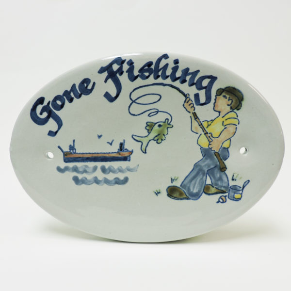 Gone Fishing 8 Inch Oval Plaque