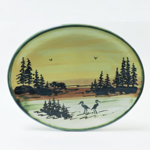 1000 Islands Sunset Stoneware 12 Inch Platter (Heron Scene).